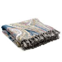 Шерстяной мягкий плед с двусторонним орнаментом в восточном стиле Shakira Blanket