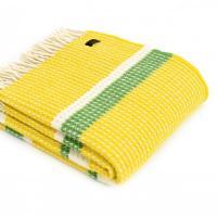 Плед жёлто-зелёный Waffle Stripe