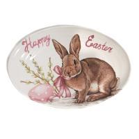 Овальное блюдо для весеннего стола «Пасхальный кролик»