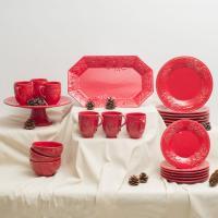 Сервиз новогодний столовый красный Зима
