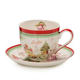 """Чайные чашки с блюдцем """"Теплые поздравления"""", 2 шт"""