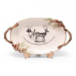 """Блюдо новогоднее большое с изображением оленя """"Лесной мороз"""""""