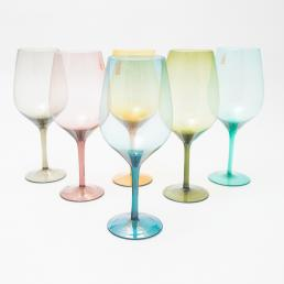 Набор разноцветных бокалов для вина Villa d'Este 6 шт.