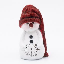 Подсвечник «Снеговик в красной шапочке»
