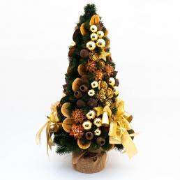 Небольшая новогодняя елочка с золотистым декором