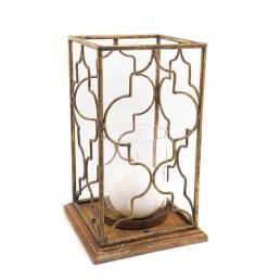 Подсвечник-фонарь на деревянной подставке