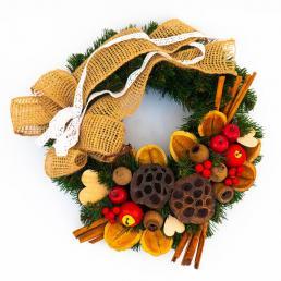 Рождественский венок с натуральным декором