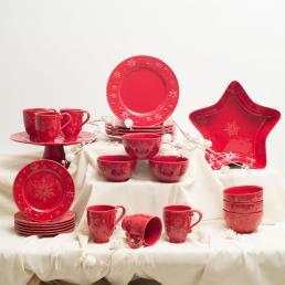 Новогодний сервиз столовый красный Снежинки