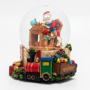 "Музыкальная шкатулка-шар ""Санта и гномы"""