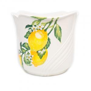 """Цветочное кашпо из белой керамики """"Солнечный лимон"""""""