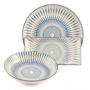 Набор из трех керамических блюд с оригинальным радиальным узором