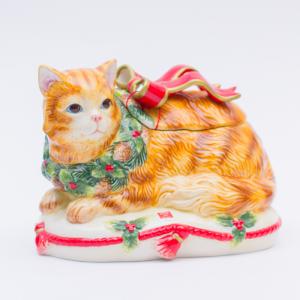 """Новогодняя ёмкость для печенья """"Нарядный котенок"""""""