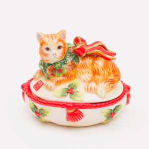 """Новогодняя шкатулка """"Нарядный котенок"""""""