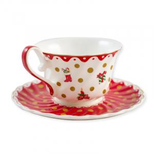 Чашка с блюдцем новогодняя