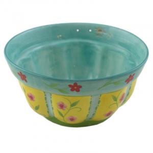 Салатник керамический бирюзового цвета с рисунком