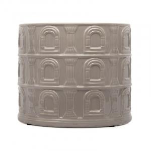 """Большое кашпо из керамики серо-коричневого цвета """"Колизей"""""""