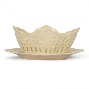 Фруктовница со сквозным орнаментом с тарелкой Crema