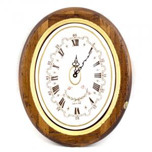 Часы овальные из антикварного дерева