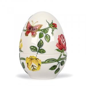 Фарфоровое яйцо-шкатулка с декором «Розы и бабочки» Palais Royal