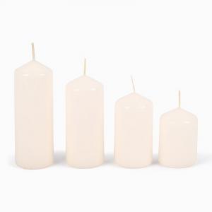 Набор из 4-х свечей в форме цилиндра цвета айвори