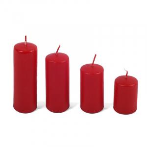 Набор из 4-х красных свечей в форме цилиндра