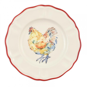 """Десертная тарелка с красочным рисунком """"Петушки"""""""