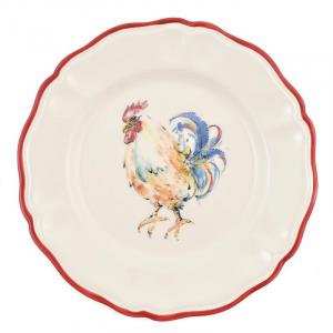 """Обеденная тарелка из прочной керамики """"Петушки"""""""