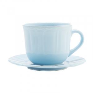 Чашка для чая с блюдцем голубая Ritmo