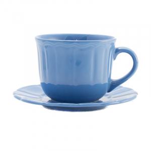 Чашка для чая с блюдцем синяя Ritmo