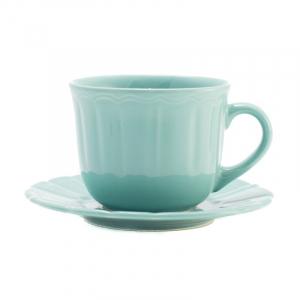 Чашка с блюдцем для чая бирюзовая Ritmo