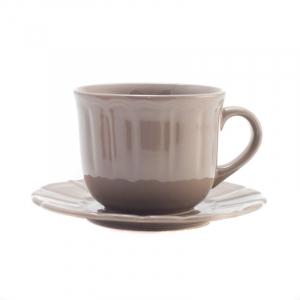 Чашка для чая с блюдцем коричнево-серая Ritmo