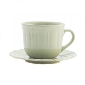 Чашка для чая с блюдцем светло-зелёная Ritmo