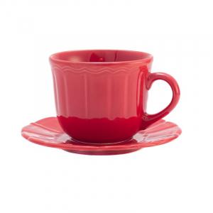 Чашка с блюдцем большая красная Ritmo