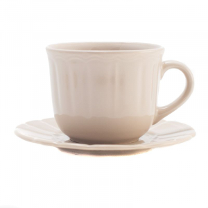 Чашка для чая с блюдцем бежевая Ritmo