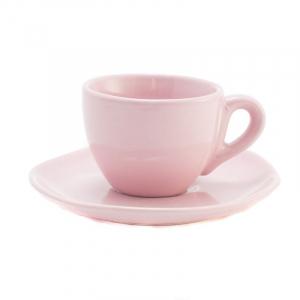 Чашки для кофе с блюдцами розовые, набор 6 шт. Ritmo