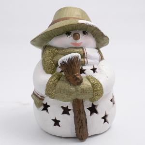 """Статуэтка LED """"Снеговик с метлой в соломенной шляпе"""""""