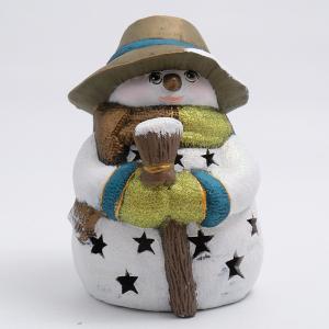 Статуэтка LED «Снеговик в бронзовой шляпе с метлой»