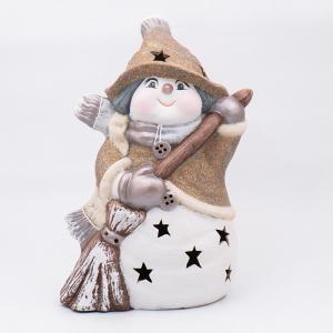 Статуэтка LED «Снеговик в золотистом колпачке с метлой»