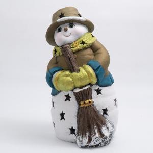 Статуэтка LED «Снеговик с метлой в бронзовой шляпке»