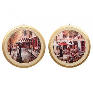 Набор из 2-х круглых картин с изображением улиц Парижа