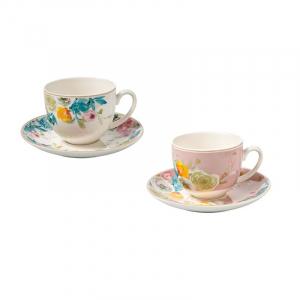 Чашка чайная с блюдцем в пастельных тонах Paradise, 2 шт.