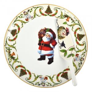 Тортовница с лопаткой с изображением Деда Мороза Christmas Maison