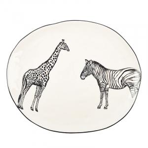 Блюдо овальное с изображением зебры и жирафа Masai