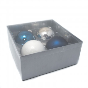 Набор новогодних игрушек-шаров синих и белых