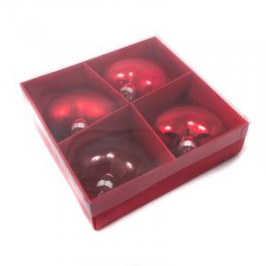 Набор новогодних игрушек-сердце красного цвета