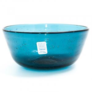 Пиала из яркого голубого стекла с пузырьками воздуха Matisse