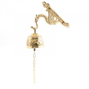 Колокольчик с цепочкой светлая латунь