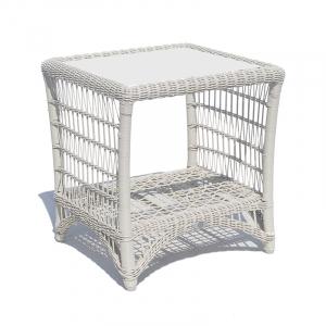 Столик приставной белый из техноротанга Arena