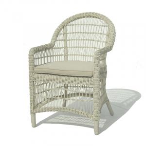 Кресло обеденное плетеное из ротанга белого цвета Arena