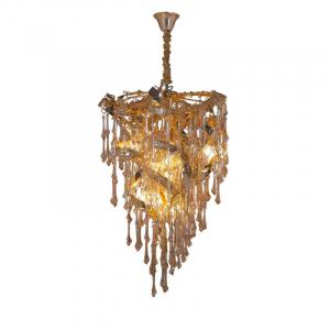 Люстра из металла с длинными стеклянными подвесками Sculpture